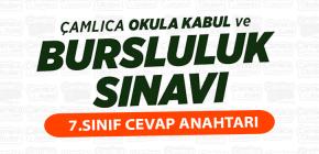 BURSLULUK SINAVI 7.SINIF CEVAP ANAHTARI